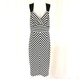 Stop Staring Midi Dress Striped Sleeveless Sheath
